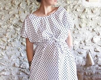 Oversize white polka dot dress, dress pregnancy batwing sleeves
