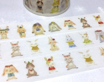 happy Rabbit washi tape 5M x 2cm rabbit world rabbit theme cute bunny sticker tape flower crown rabbit cartoon rabbit drawing planner gift