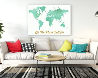 World map wall art etsy world map wall art mint room decor mint world map with gold quote oh the places sciox Choice Image