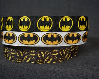 Batman Inspired Non-slip Headband - Black with Yellow Logo, White with Logo, Mini Logo
