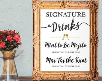 Wedding drinks menu - Signature wedding drinks - wedding bar sign - PRINTABLE 8x10 - 5x7 - 16x20
