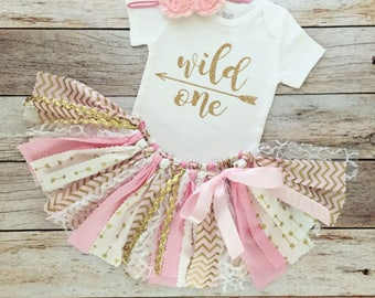 Pink and Gold Wild One Birthday Outfit with Headband/Pink and Gold Arrow Fabric Tutu/Baby Girl/Shirt with Age