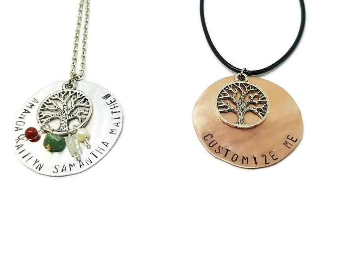 Birthstone Tree of Life Necklace, Hand Stamped Mothers Necklace, Family Tree Necklace, Personalized Tree of Life Pendant, Copper or Silver