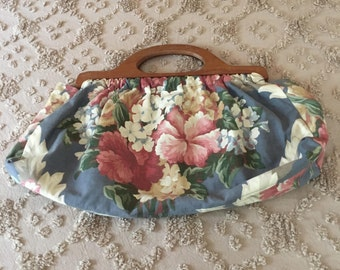 1950's Floral Knitting Bag with Wooden Handles