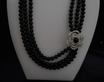 Vintage Black Glass Pearls Necklace #407