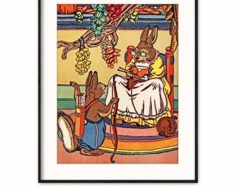 Instant Download Rabbit Nursery Print, Printable Fairy Tale (Baby Wall Art, Kids Room Art Fruit) --- Aesops Fable Book Illustration