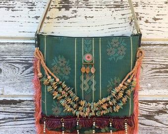 Upcycled Fringe Boho Messenger Bag-Medium Crossbody Purse-Hippie Gypsy Style-Festival Fashion