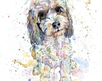 Custom pet portrait, watercolour and pen painting, 11x15inches, unique art, gift for dog lovers, gift for animal lovers, dog art, horse art