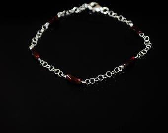 Garnet Bracelet,  Handmade Silver Garnet Bracelet, Gemstone Bracelet, NJ0097