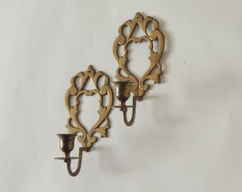 Brass Vintage Candle Sconces, french country candle holders, candle wall sconces, taper candle holders, aged brass sconces
