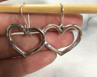 925 Sterling Silver open heart Earring