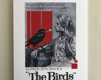 The Birds, Alfred Hitchcock, movie poster, black and white, red, Tippi Hedren, geometric, mid century modern, old hollywood, vintage