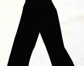 Vintage Black Velvet Wide Leg Sleeveless Jumpsuit - DKNY Donna Karan large l xl velour romper onesie catsuit retro 90s monochrome