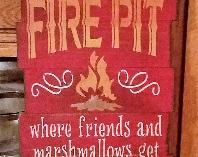 Primitive Large Welcome To Our Fire Pit Sign With Attached Bottle Opener