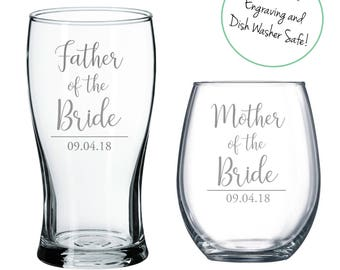 Set of (1) Etched Beer Glass and (1) Stemless Wine Glass for Mother/Father of the Groom/Bride, Mother of the Bride, Father of the groom