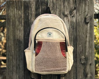 Handmade red Hemp backpack