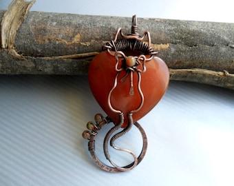 Copper cat pendant Copper cat necklace Carnelian pendant necklace Wire cat necklace Wire wrapped cat pendant cat lover gift jewelry OOAK