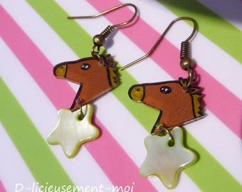 Earrings in antique bronze star horse crazy shrink plastic and charm Pearl rider riding