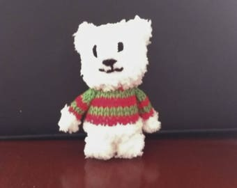 Fluffy Teddy Bear with Christmas Jumper, Knitted Polar Bear