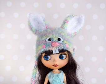 Blythe hat Doll Clothes Easter bunny  Rainbow Blythe outfit Spring helmet Rabbit  Hare hat Easter Bunny Neo Blythe hat Pullip BJD SD hat