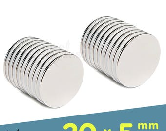 20 Pack - Neodymium Magnets -  20mm x 5mm Diameter - Craft Magnets Super Strong Skinny Magnets