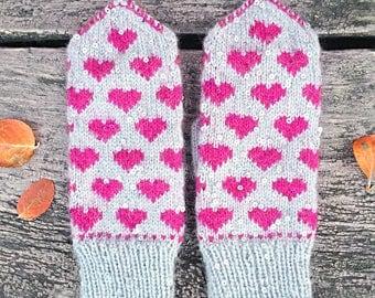 Mohair handknit fair isle mittens, knit mittens, wool mittens, fair isle, mittens, women mittens, norwegian mittens, scandinavian