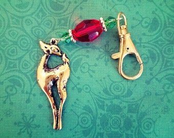 Reindeer Keychain, Christmas Keychain,Holiday Purse charm,Christmas,Reindeer Accessories,stocking stuffer,Small Gift