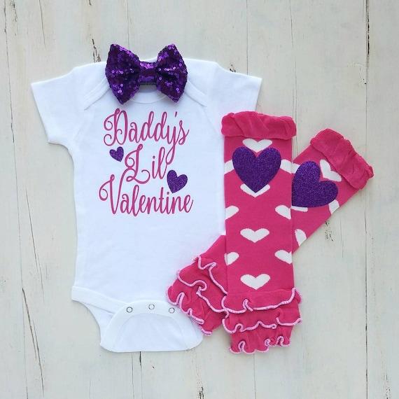 My First Valentine outfit Daddy\'s little Valentine Baby