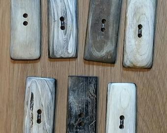 Set of 7 buttons / buttons rectangular bone / bone
