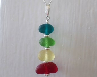 Rainbow Stacked Sterling Silver Sea Glass Necklace, Seaglass Necklace Pendant, Beach Glass, Beach Jewelry, Seaham, Beach Glass, Stack, Red