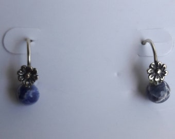 Hand Crafted Silver Flower and Kyanita Stone Earrings