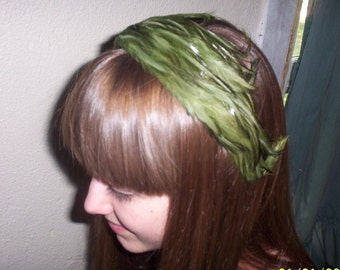 Vintage Green Feather Headband Hat, Made in Western Germany