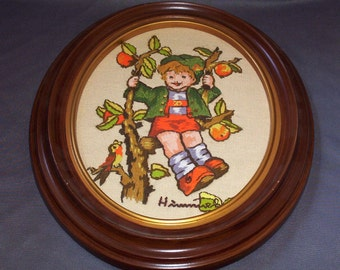 Mid Century Hummel Crewel Embroidered Picture With Oval Faux-Wood Frame, Handmade