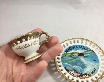 Vintage Niagara Falls Prospect Point Souvenir Miniature Tea Cup and Saucer