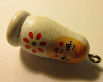 Hand Painted White Wooden Matryoshka Russian Doll Bead-Charm, 1 1/4""