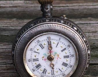 Antique Swiss Ladies Pocket Watch Pendant ~ .800 Silver