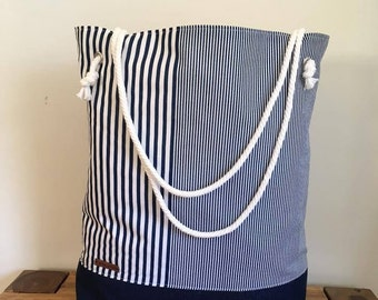 beach bag, tote bag, cotton and jeans bag,  nautic beach bag, denim sport bag, cabas, travel bag, sports bag, big tote bag