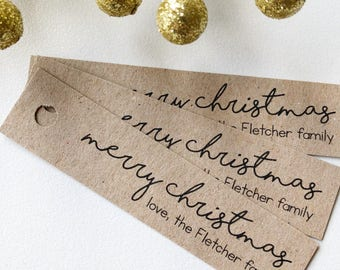 Customisable Merry Christmas Tags Pk10 - Rustic Kraft Brown