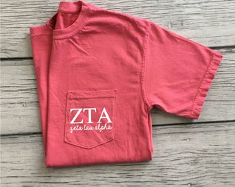 Zeta Tau Alpha Pocket Tee, Zeta Sorority T-Shirt, Zeta Tau Alpha Shirt, Little Sis gift, Zeta Letters, Zeta Pocket Tee, Greek Recruitment