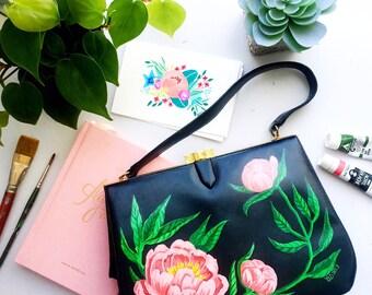 Hand Painted Upcycled Vintage 1950s Handbag Pink Peonies Floral