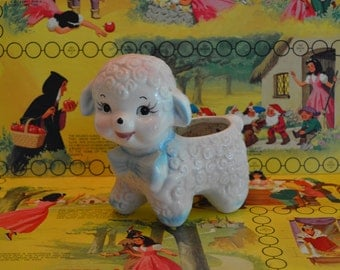 Pink Lamb with Blue Bow Planter