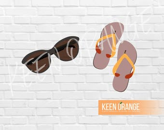 Summer Flip Flops and Sunglasses EPS for Graphic Designers