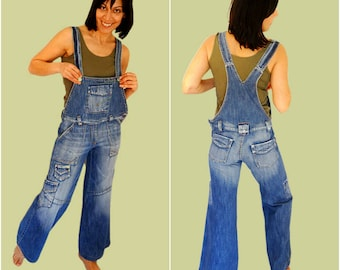 Wide leg denim overalls size 6 womens flared bib overalls blue stonewash jeans jumpsuit Vintage 90s overalls Small NEW