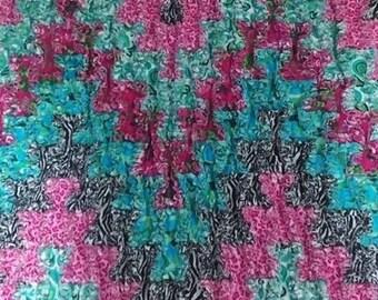 Easy zig-zag rag quilt pattern - downloadable