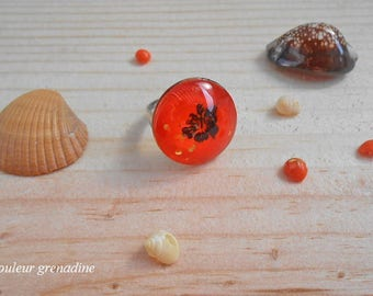 Orange exotic hibiscus flower cabochon ring, gift celebrating the grand mothers, Easter