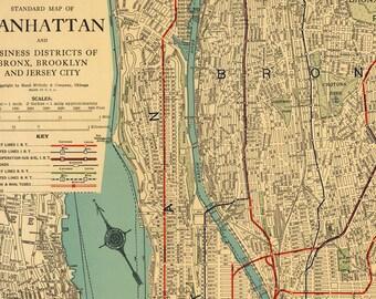 Manhattan Map Etsy - Manhattan in us map