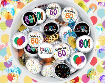 Happy 60th Birthday Stickers - Round Stickers - Hershey Kiss Stickers - Multicolored, Balloons, Rainbow Colors -  324 Sticker Count