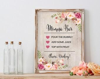 Floral Mimosa Bar Sign Printable Bridal Shower Sign Rustic Wedding Decoration Wedding Bar Sign Bridal Shower Stationary Bridal Shower Decor