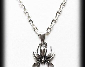 Spider Necklace,  Gothic Charm Necklace, Silver Spider Pendant, Alternative Jewelry, Handmade Necklace, Halloween Jewelry, Gothic Jewelry