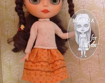 """BLYTHE SKIRT with embroidery ((jointed body (""""fake"""" ) or Takara body (""""real""""))"""